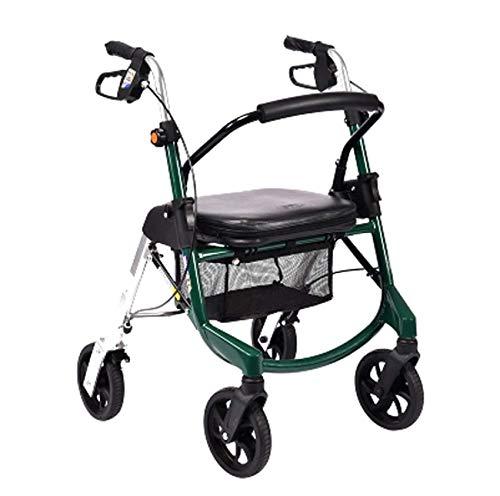 XCY Gehhilfe Medical Instruments Folding Aluminium Leichtbau Walker Scooter, Tragen Vier Räder Hilfs Walker