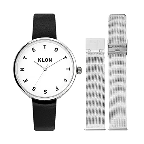 腕時計 替えベルト セット メンズ レディース 2way ブラック シルバー 人気 ブランド おしゃれ レザー 38mm KLON ALPHABET TIME -REPLACE model- [38/W-FACE]