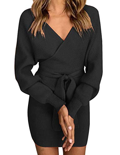 Sexyshine Women's Sexy Deep V-Neck Long Batwing Sleeve Backless Mini Slim Fit Bodycon Pencil Knit Sweater Dress with Belt(BL,L) Black