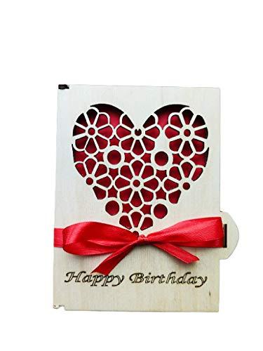 Grußkarte Aus Holz I Handgefertigte I Geschenkkarten Mit Umschlag I Hochzeitskarte I Weihnachtskarte I Geburtstagskarte I Glückwünschekarte I Muttertagkarte I Design Karte Mit Herz