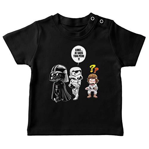 T-Shirt bébé Noir Parodie Star Wars - Dark Vador, Luke et Un Storm Trooper - Luke.Je suis Ton père !! (T-Shirt de qualité Premium de Taille 18 Mois - imprimé en France)