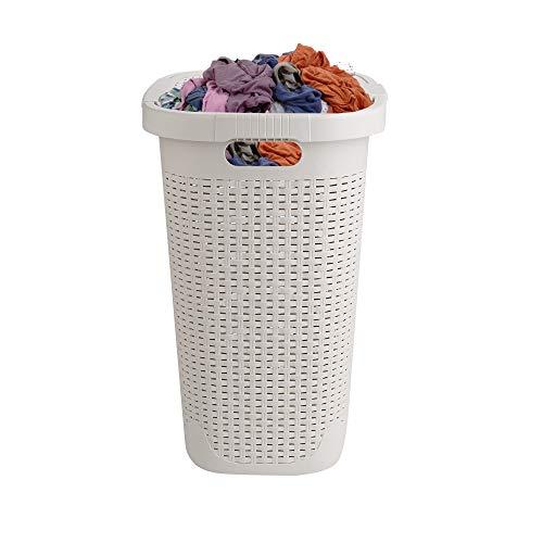 Mind Reader Basket Laundry Hamper with Cutout Handles Washing Bin Dirty Clothes Storage Bathroom Bedroom Closet 50 Liter Ivory