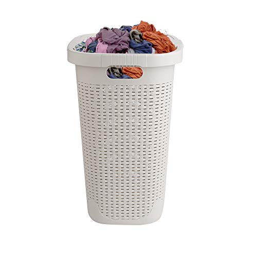 Mind Reader Basket Laundry Hamper with Cutout Handles, Washing Bin, Dirty Clothes Storage, Bathroom, Bedroom, Closet, 50 Liter, Ivory