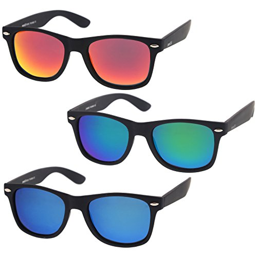 zeroUV - Rubberized Frame Reflective Mirror Polarized Lens Square Horn Rimmed Sunglasses 55mm (3 Pack Polarized | Blue)