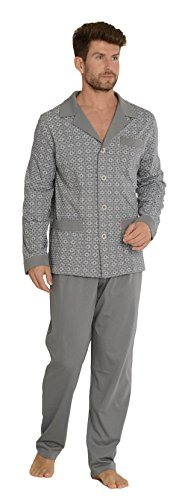 FOREX Lingerie edler Herren-Pyjama aus 100{cb92e9dc4022a28df1d833ec5c332f2acdb7358dc75ed8b7ad5a04a569014396} Baumwolle Schlafanzug Hausanzug im tollen Design, grau, Gr. 3XL