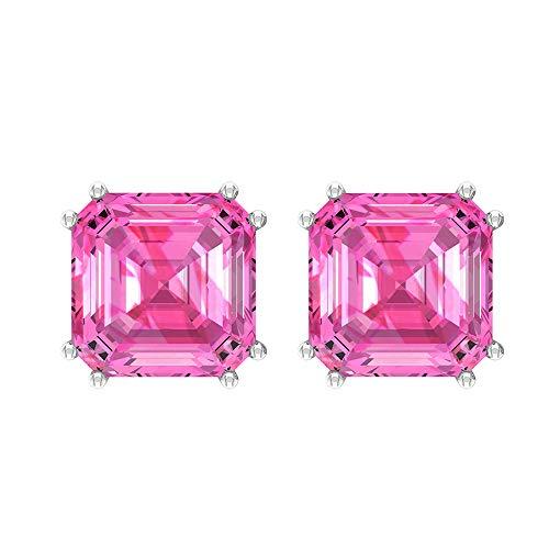 Rosec Jewels 10 quilates oro blanco asscher Pink Laboratorio de zafiro