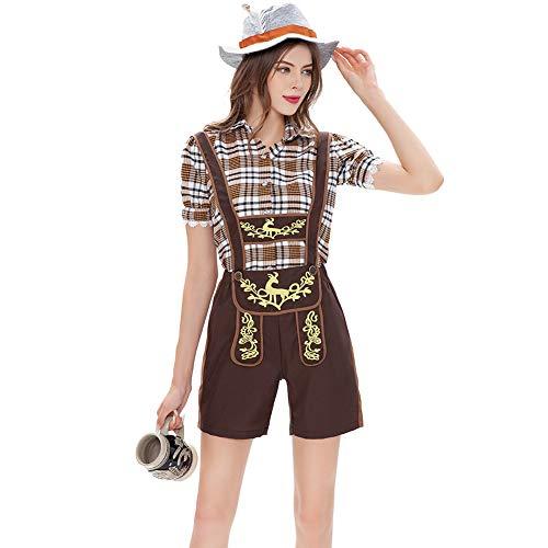 Zipzop Disfraz de Oktoberfest para hombre, traje tradicional alemn bvaro, Halloween festival de cerveza traje para mujer - Beige - Medium