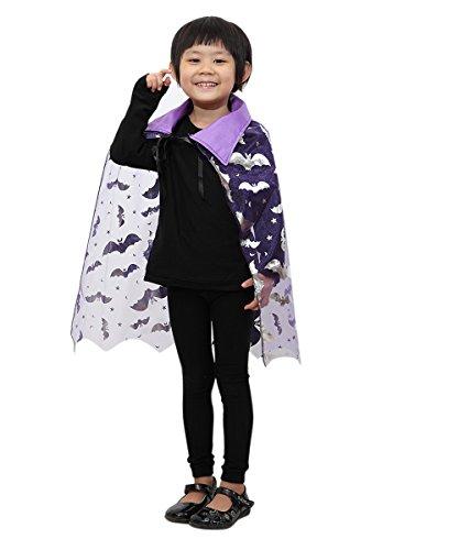 Seruna De12 Fledermaus Umhang in lila - für Kinder und Erwachsene! Halloweenkostüm für Halloween Spaß! Einheitsgröße sowohl für Kinder ab Gr. 92 als auch Erwachsene bis Gr. M