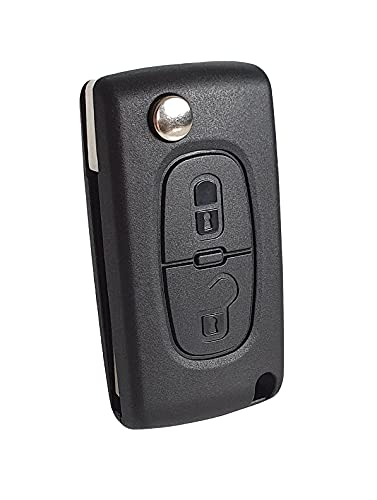 2-Tasten Gehäuse der Fernbedienung Typ Messer für Peugeot 207 308 407 607 807 und Citroen C2 C3 C4 C5 C6 C8 DS3 DS4 - Auto Schlüsselgehäuse, Pilot Autoschlüssel (Befestigung-Gehäuse)