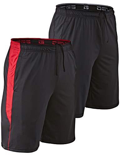 DEVOPS Men's 10-inch Athletic Workout Basketball Shorts with Pockets (Pack of 2) (Large, Black/Black(Red))