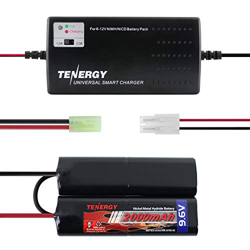 Tenergy 9.6V Airsoft Battery 2000mAh NiMH Nunchuck Battery w/Mini Tamiya Connector for Airsoft Guns M249, M240B, M14, RPK, PKM, L85, AUG, G3(Optional Charger) (Battery + Charger)