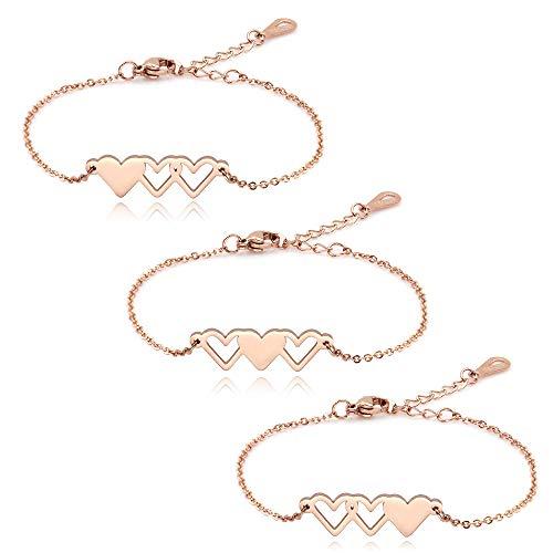 Sister Bracelets for 3, BFF Best Friend Bracelets for 3, Matching Bracelets Long Distance Friendship Heart Bracelets Gifts for Women Girls Females (With Gift Box)