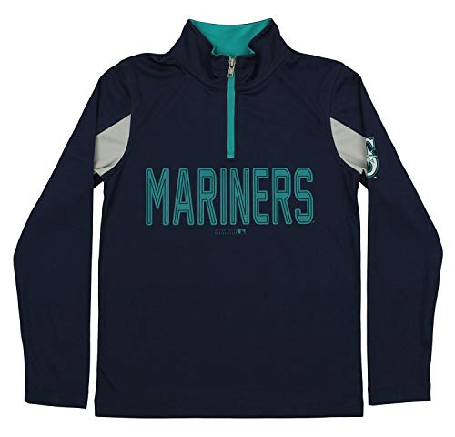 Outerstuff MLB Youth Boys 1/4 Zip Performance Long Sleeve Top, Seattle Mariners, Large