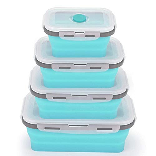FICI 4Pcs Portable Silicone folding lunch box Fruit Salad Storage Food Box Container Dinnerware Conveniently Lunch Box,Blue