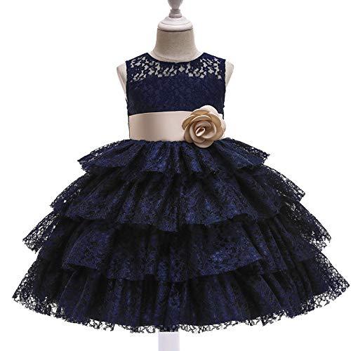 ZCRFYY Vestido de Princesa de Encaje para niños Vestido de niña de Pastel hinchado Vestido de niña Vestido de niña de Flores Vestido de Novia,Azul,130cm