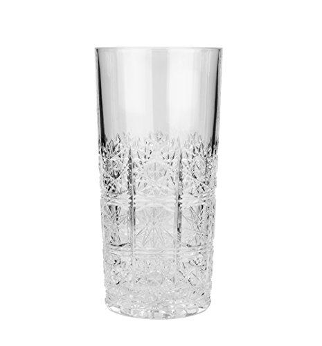 Aurum Cristal au50845, 12oz vasos de vasos de cristal hecho a mano, claro beber té helado bebidas vasos de cóctel con gran base, boda regalo vaso, juego de 6
