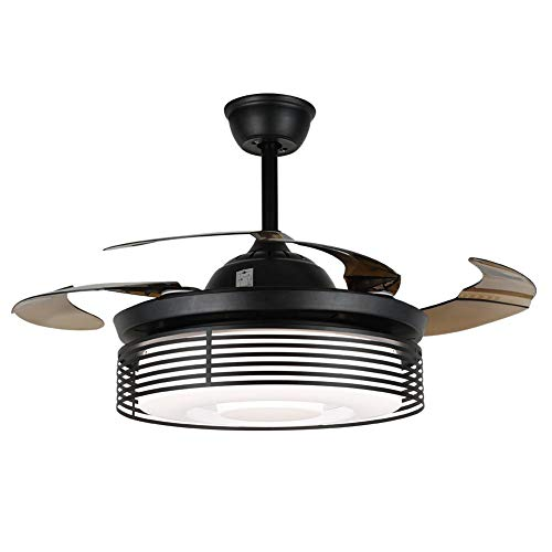 Retro Black Chandelier Fan with Light, Modern Ceiling Fan gentle with Remote Control, Black Cage LED Ceiling Fandelier Lighting 3 Color Change and Retractable Blades Quiet Motor 42 Inch