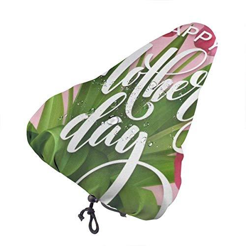 Sherly Yard Cubierta de Asiento de Bicicleta, Funda de Asiento de sillín de Bicicleta Feliz Dia de Las Madres Flores Florales Mejor para la Mayoría Monturas Universal