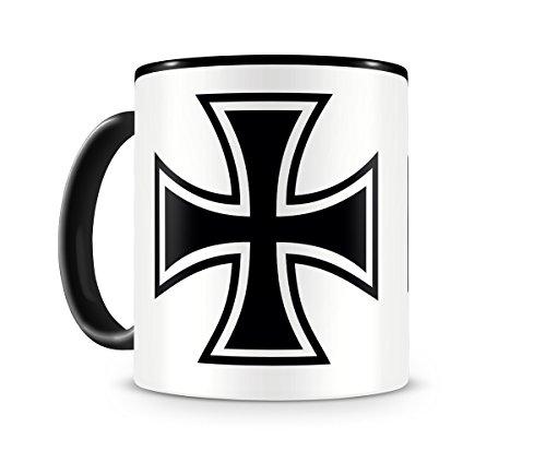 Samunshi® Eisernes Kreuz Iron Cross Tasse Kaffeetasse Teetasse Kaffeepott Kaffeebecher Becher H:95mm/D:82mm schwarz