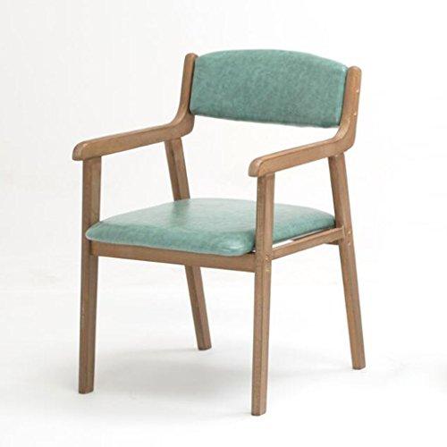 WDX- Moderno Simple Vintage Dining Chair Silla de Madera Maciza Restaurante Apoyabrazos Ocasional Si
