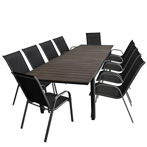 11tlg. Gartengarnitur Gartentisch, ausziehbar, Aluminiumrahmen, Polywood-Tischplatte, 280/220x95cm + 10x Stapelstuhl, Textilenbespannung / Sitzgruppe Sitzgarnitur Gartenmöbel Terrassenmöbel Set