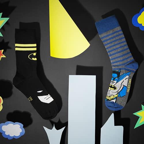 soxo Calcetines de Color para Hombre | Talla 40-45 | Calcetines largos de algodón de batman | Perfectos para Zapatos y Botas