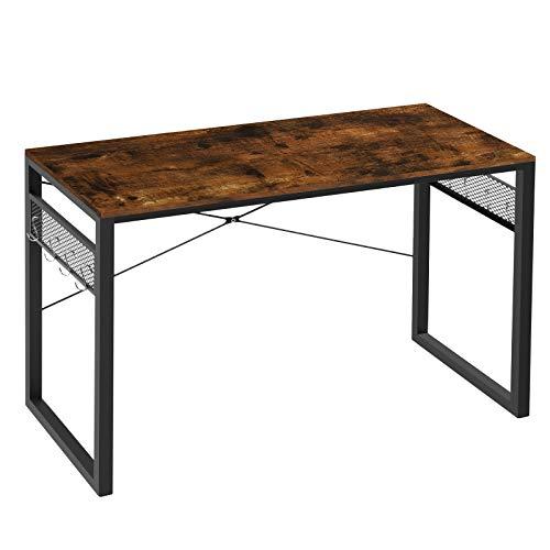 Yifeel - Scrivania per computer da 100 cm, scrivania da ufficio con 8 bonus extra, robusta scrivania da lavoro, scrivania in stile semplice e moderno, colore: Marrone rustico+nero UFCD009RB