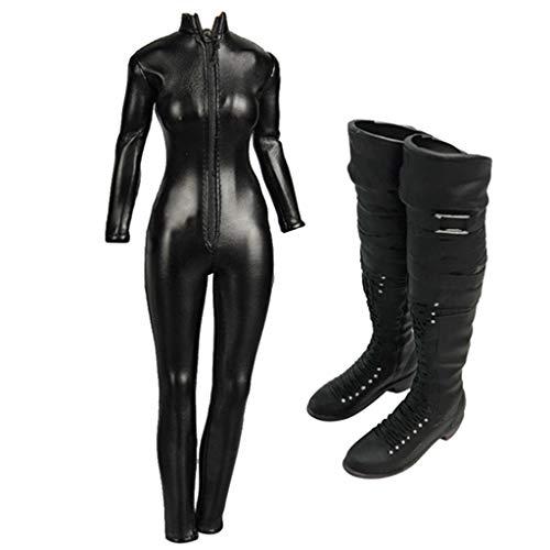 non-brand Zapatos de Bota Larga de Mono de Imitación de Cuero Negro para Escala 1/6 para Figura de...