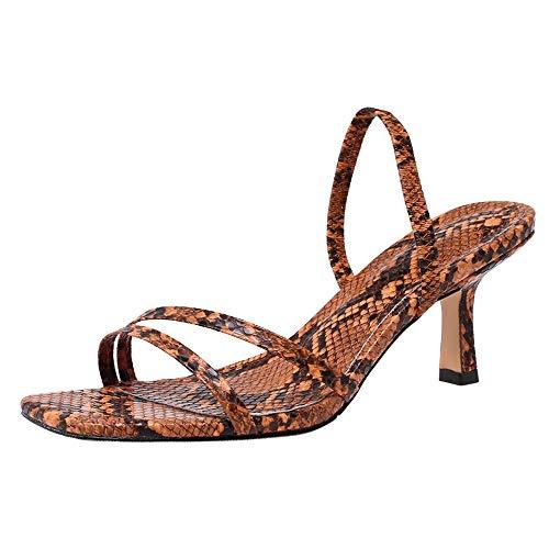 Lydee Mujer Moda Kitten Heels Zapatos Verano Open Toe Slingback Sandalias Partido Dance Zapatos Snake Brown Talla 33