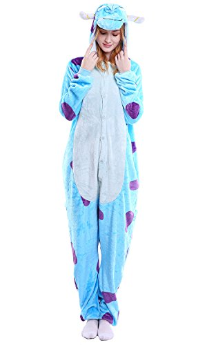 Dolamen Adulto Unisexo Onesies Kigurumi Pijamas, Mujer Hombres Traje Disfraz Animal Pyjamas, Ropa de Dormir Halloween Cosplay Navidad Animales de Vestuario (Large (65 '-68.8'), Sullivan)