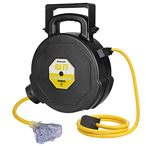 DEWENWILS Retractable Extension Cord Reel, 45FT Heavy Duty Power Cord, Electrical Cord Reel with Lighted Triple Tap, 12/3 SJT, 15A Circuit Breaker, Wall/Ceiling Mountable, Portable Handle, ETL Listed