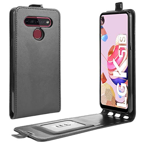 HualuBro LG K51S Hülle, LG K41S Hülle, Premium PU Leder Brieftasche Schutzhülle HandyHülle [Magnetic Closure] Handytasche Flip Hülle Cover für LG K51S Tasche (Schwarz)