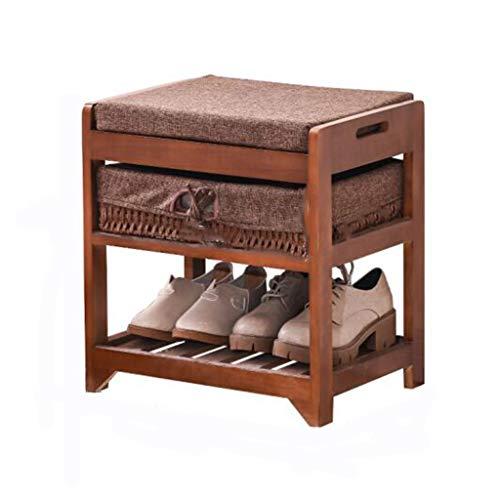 XINKONG Shoe Rack Multi-Layer, Banco De Zapatos De Madera Maciza Moderna Y Sencilla, Taburete De Almacenamiento, Banco De Zapatos, Marrón/Gris (Color : Brown)