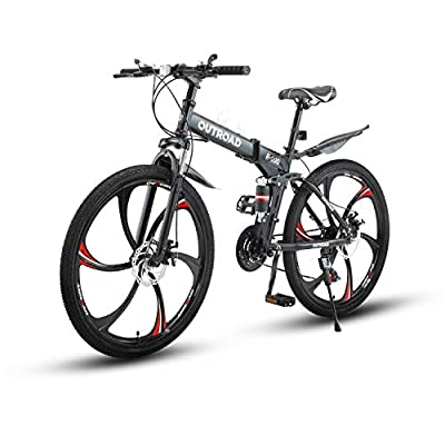 Max4out Mountain Bike Folding Bikes with High Carbon Steel Frame, Featuring 6 Spoke Wheels and 21 Speed Shimano Shifter, Double Disc Brake and Dual Suspension Anti-Slip Bicycles (Black, 26 in)