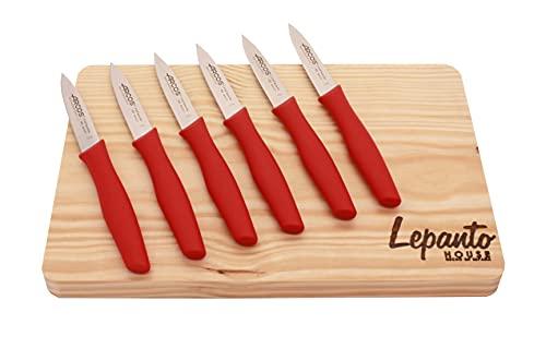 Tabla de corte de madera para carne o verduras incluye juego de cuchillos rojos para cocina arcos, Pack 6 cuchillos arcos de...