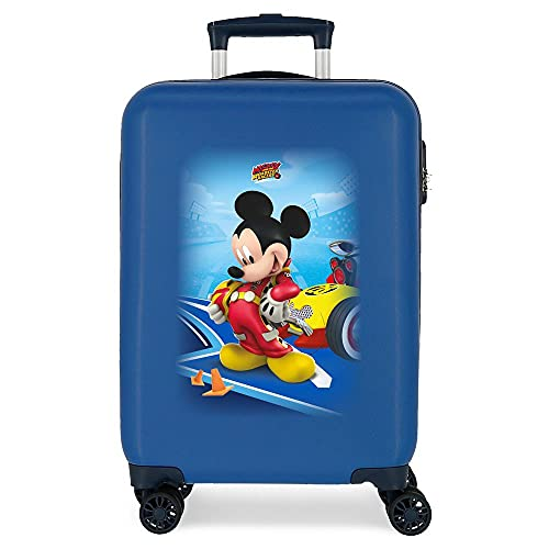 Disney Lets Roll Mickey Maleta de Cabina Azul 34x55x20 cms Rígida ABS Cierre de combinación Lateral 37,4L 2,36 kgs 4 Ruedas Dobles Equipaje de Mano