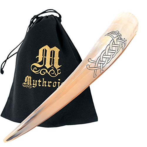 Mythrojan Viking - Cuerno para Beber (400 ml, Inspirado en la Medieval, Acabado Pulido) - Multicolor -