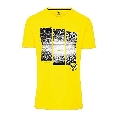 BVB-T-Shirt, Gelb mit Foto-Print vom Signal Iduna Park, 100% Baumwolle, S-3XL XXL