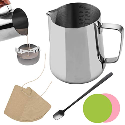WXJ13 580ml Candle Melting Pouring Pot with 2 Pieces Color Coaster with 1 Piece Stainless Steel Mixing Spoon with 20 Pieces Blank Kraft Paper Labels for Melting Wax, Chocolate, Candy and Candle Making