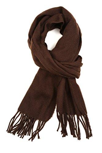Sakkas Sakkas 1590 -Booker Kaschmir fühlen feste farbige Unisex Winter-Schal mit Fransen - Schokolade - One Size Regular