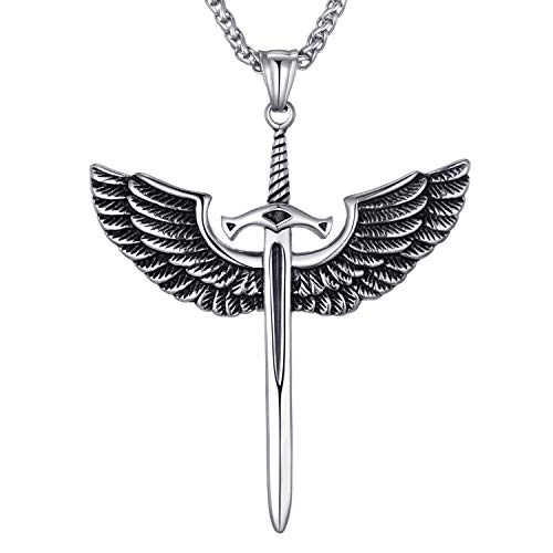 Mens Stainless Steel Pendant Necklace Angel Wings Sword Cross Pendant with 24 Inches Link Chain