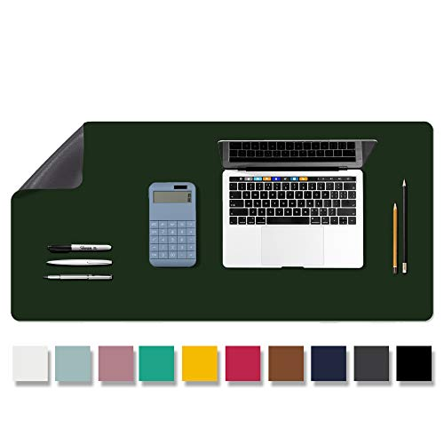 """Aothia Anti-Slip Desk Pad Blotters, Waterproof PU Leather with Non-Slip Rubber Desk Mat Protector, Large Mouse Pad Desk Writing Mat for Office/Home Use (31.5""""x 15.7"""", Dark Green)"""