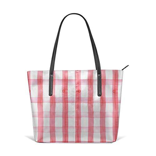 Meiya-Design Picknick-Decke, rotes Gingham-Schultertasche, Kunstleder, leicht, Arbeitstasche für Frauen