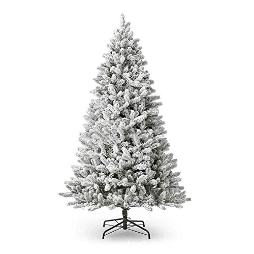 ZZFF 10ft Snow Flocked Hinged Christmas Tree,Classic Unlit Artificial Christmas Pine Tree With Metal Stand Dense Branch Tips,Full Xmas Tree Festival Decor-White 300cm/10ft