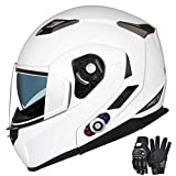 Motorcycle Bluetooth Helmets,FreedConn Flip up Dual Visors Full Face Helmet,Built-in Integrated Intercom Communication System(Range 500M,2-3Riders Pairing,FM radio,Waterproof,L,White)