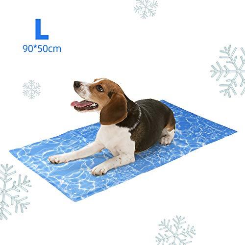 amzdeal Alfombrilla Refrescante Durable para Perros - Cojín para Perros Plegable y No Tóxico, Refrigeración Automática, Ideal para Mantener a Las Mascotas Frescas en Verano, Azul (L (90 x 50 cm))