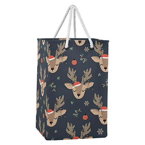 Tekuve Christmas Laundry Baskets Storage Bag, Christmas Reindeer Laundry Hampers with Handles, Collapsible Laundry Bags Decorative Toy Basket for Bedrooms