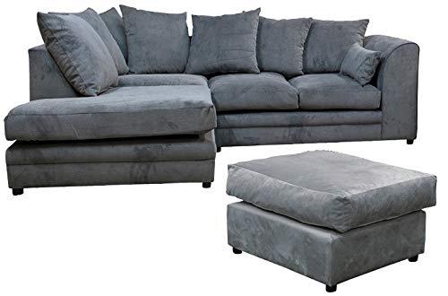 Casper Left Hand Facing Corner Sofa with Footstool in (Grey) Sofa Set