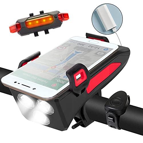 Generic Fahrradlichter 5 in 1 Funktionales wiederaufladbares Fahrradlicht Set mit Handyhalterung, Powerbank und Fahrradhupe, wasserdicht Fahrradbeleuchtung vorne und hinten Set