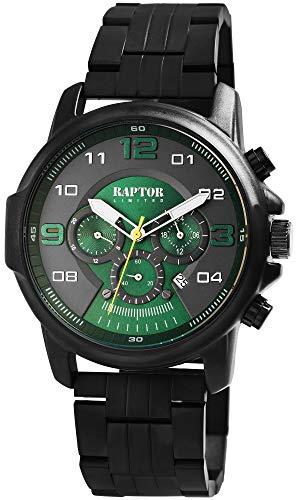 Raptor Limited Herren-Uhr Edelstahl Chronograph Leuchtzeiger Analog Quarz RA20280 (schwarz/weiß)